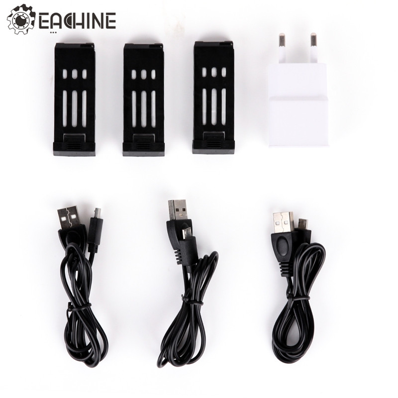 Eachine E58 1 to 3 Battery Charger Combo with 3.7V 500MAH Lipo Battery USB Cable Adapter Charging Units RC Quadcopter Spare Part lipo battery 7 4v 2700mah 10c 5pcs batteies with cable for charger hubsan h501s h501c x4 rc quadcopter airplane drone spare