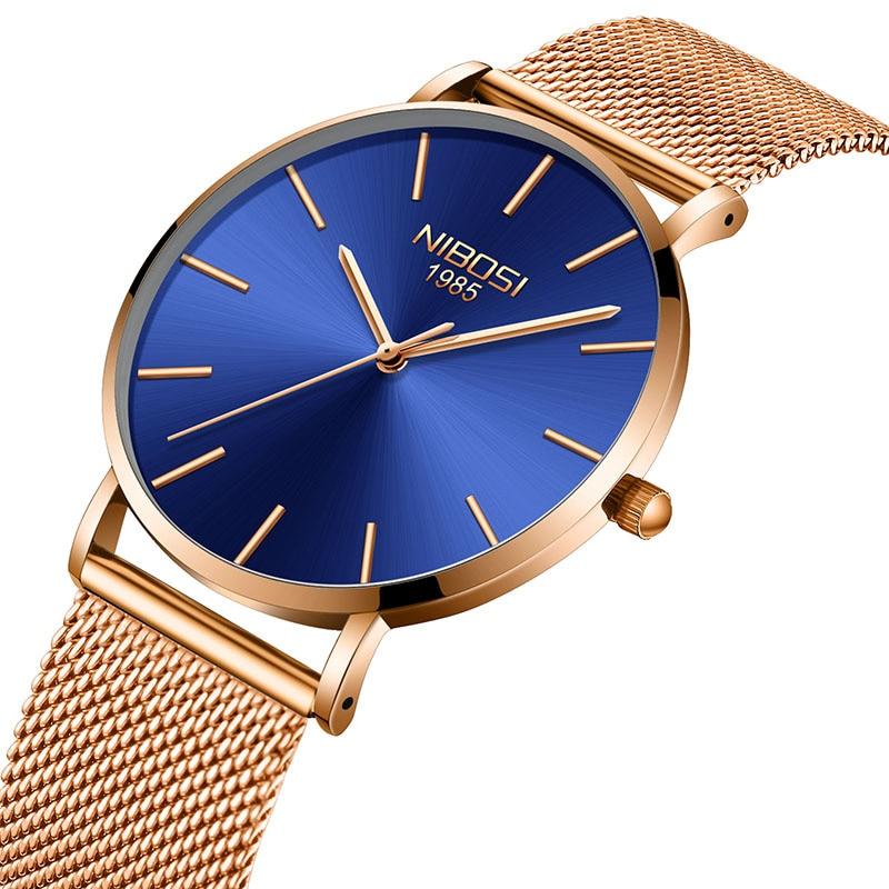 NIBOSI Men's Watches Luxury Brand Business Watch Male Casual Mesh Steel Leather Ultra Thin Dial Men Quartz Wristwatch relogio креманка для десертов 100г ложка 13 см 1168246