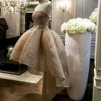 2018 Мода без бретелек рукавов matrimonio бисером жемчуг короткое спереди и длинное сзади Свадебное платье невесты Платья для женщин