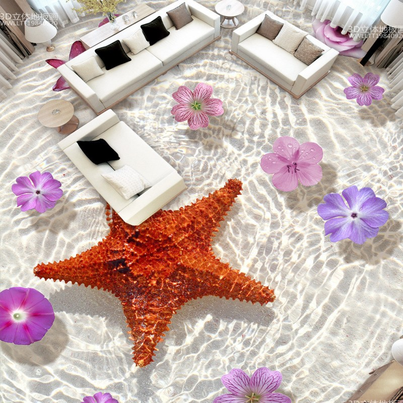 Free Shipping Starfish flowers living room bathroom 3D floor stickers self-adhesive home decoration flooring wallpaper mural free shipping custom 3d white marble floor stickers self adhesive home decoration living room bathroom flooring wallpaper mural