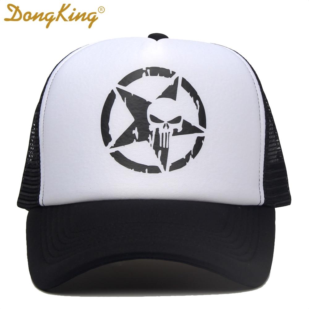 DongKing Skull Heads Ghost Pentagram Printed Fashion Baseball Cap Women Casual Snapback Hat For Men Trucker Caps