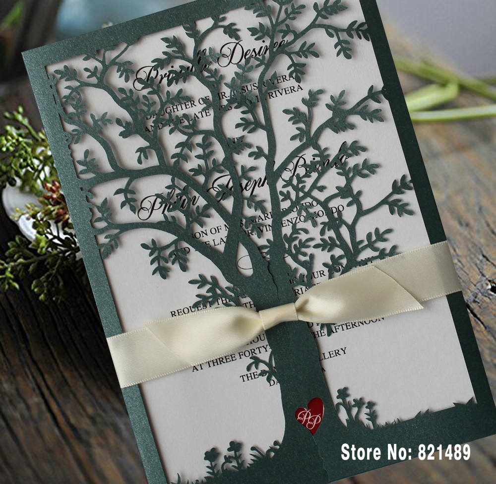 Green Color Tree Wedding Invitations, White Ribbon Invitation Cards, Laser  Cut Tree Wedding Invitations