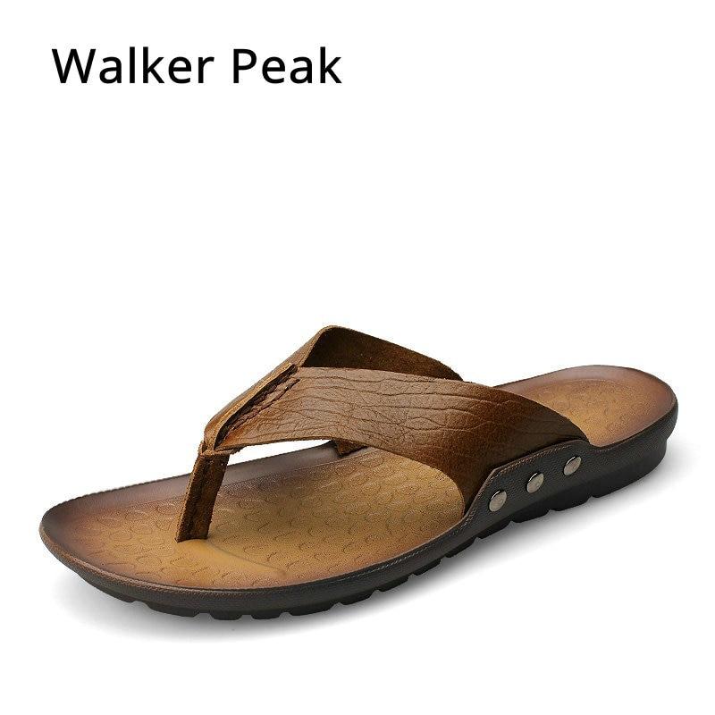 4d41df735 Brand 2018 New Men s Flip Flops Genuine Leather Slippers Summer Fashion  Beach Sandals Shoes For Men Casual shoes Walker Peak