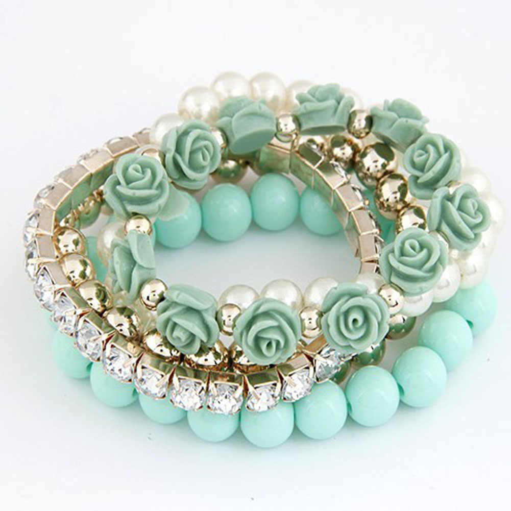 5 Pcs/Set Bracelet Candy Color imitation pearl Rose Flower Multilayer Beads Stretch Charm Bracelet & Bangle For Women