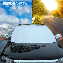 Car Cover Universal Snow Cover And Sun Shade UV Protection Sunshade Auto Cover With Reflective Strips & Magnetic Car Accessories(China)