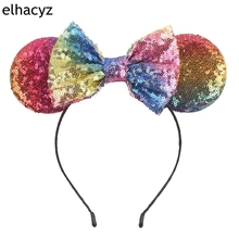 Minnie Headband For Girls 2019 Mouse Birthday Party Gift Women Glitter Ears Hairband Kids Hair Accessories
