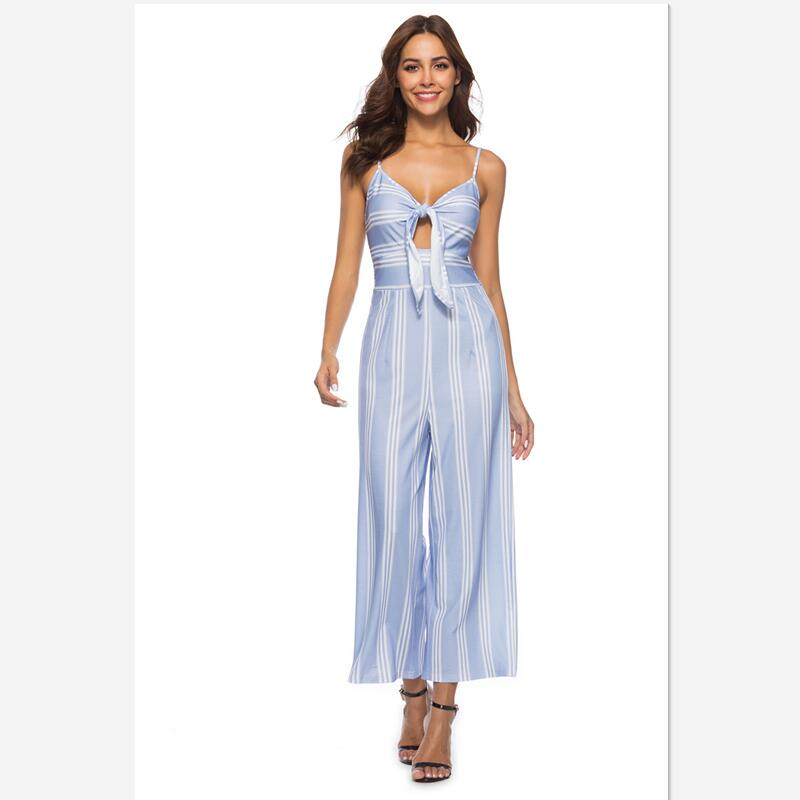 2018 summer and Fasion  striped  straight jumpsuits bow bandage of high quality jumpsuits