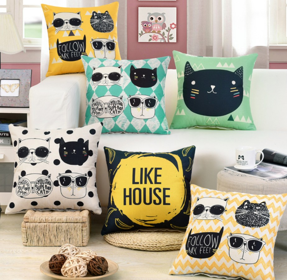 Candles & Holders Reliable 1 Pcs Cartoon Cat Pattern Cotton Linen Throw Pillow Cushion Cover Seat Car Home Sofa Bed Decorative Pillowcase Funda Cojin 40169 Active Components