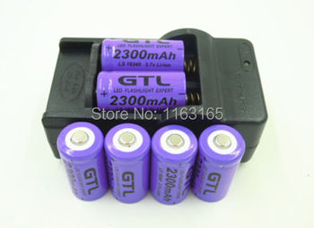 6x 2300mAh 16340 CR123A   Rechargeable Li-ion Battery Purple  For LED Flashlight  + Travel Charger