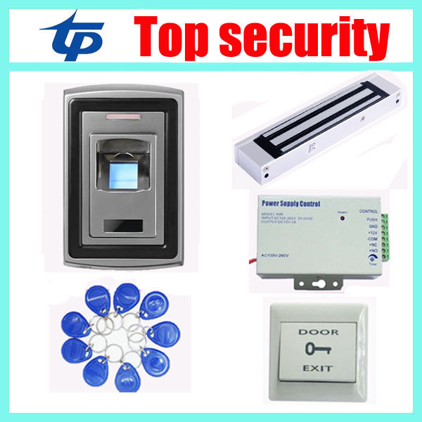 Metal Waterproof standalone Fingerprint Access Control, without software+power supply+magnetic lock+exit button +10pcs RFID key rfid em card reader ip68 waterproof metal standalone door lock access control system with eletric lock power supply exit button