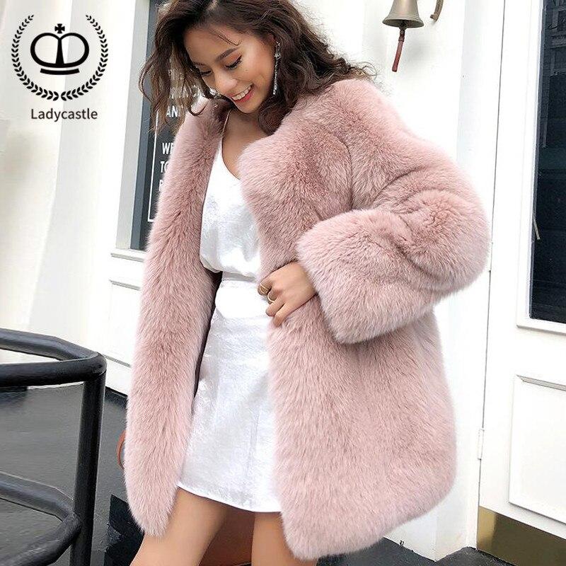 Femmes Rond Manteau Mode Renard 050 Pelt D'hiver Manteaux Fc De Pardessus Fourrure Col Nouvelle Veste Réel Véritable Rose 2018 Naturelle TculK1J3F