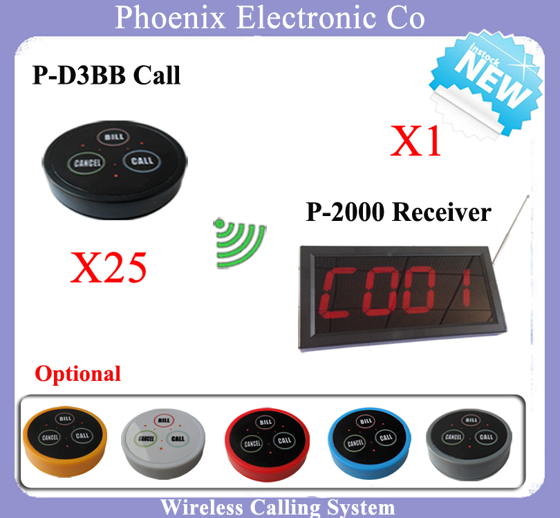 Wireless Pager Service Calling System For Restaurant Salon Beauty Table With D3 Bell X25pcs And Display Receiver P-2000 X1PCS  цены