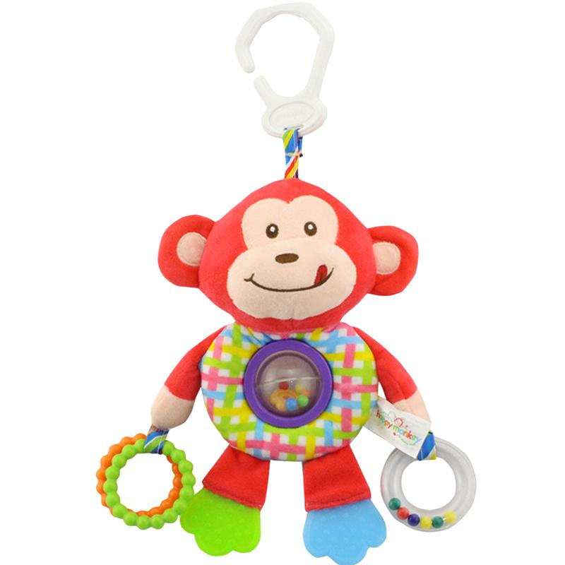 Soft Cute Baby Rattle Toys Cartoon Animal Stroller Teethers Hanging Rattles Plush Toys Bed Hanging Rings Teethers for Newborns