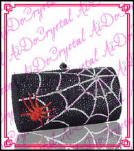 Aidocrystal spider prints handle bag with shoulder chain handmade lady clutch for  party