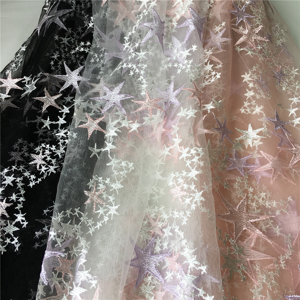 Detail Feedback Questions about 1 Yard Star Embroidered Tulle Mesh Lace  Fabric In Black Pink Off White Gauze Fabric For Evening Dress 750cbcdda976