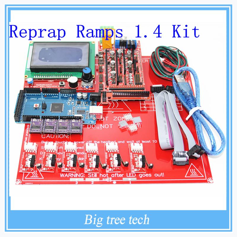Prix pour Reprap rampes 1.4 kit + Mega 2560 + Heatbed mk2b + 12864 LCD Controller + DRV8825 + butée mécanique + câbles 3D imprimante