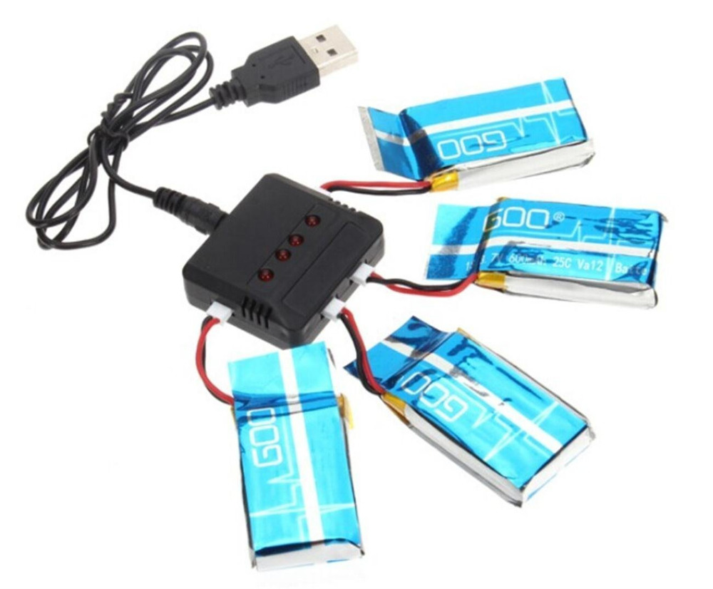 For Syma X5SW X5SC Battery with 4 in 1 Charger Set 4pcs 600mAh Lipo Battery 3.7V for Syma X5SW X5SC RC Quadcopter rc drone lipo battery 850 mah li po battery for syma x5c x5sw with 5in1 charger box for x5 x5a x5sc x5sw mjx x705c x6sw