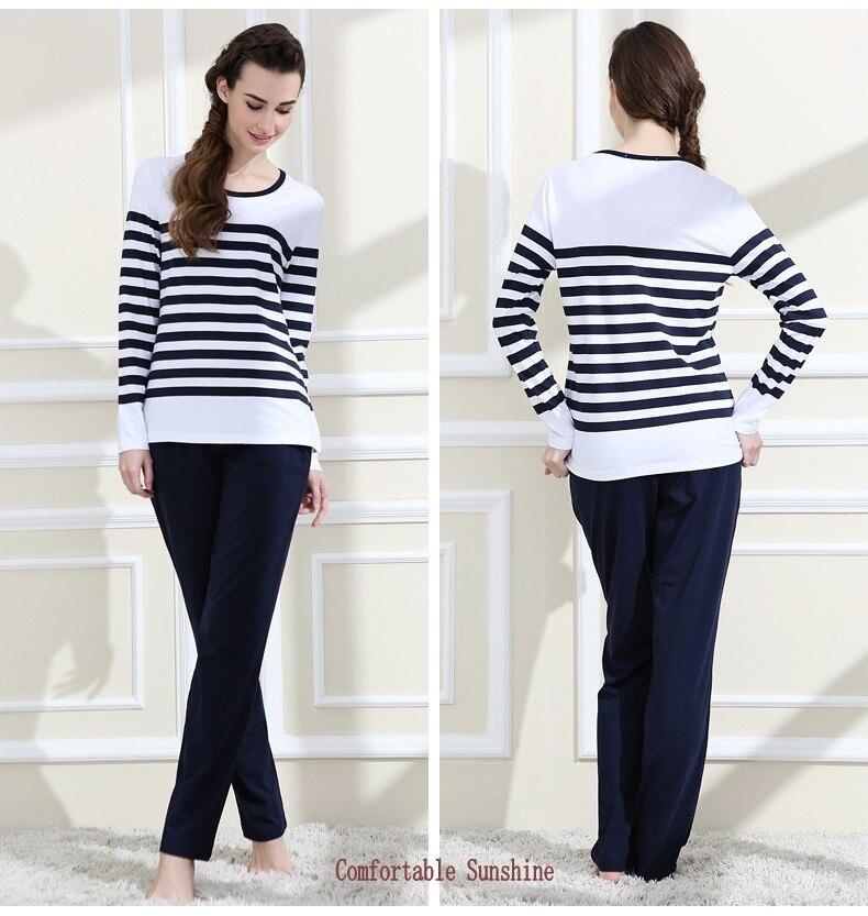 Spring Plus Size Pyjamas Ladies Casual Striped Pajama Sets Women Long Sleeve T Shirt + Pants Modal Cotton Sleepwear Suit