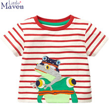 Little Maven latest 2017 new summer baby biys clothes short sleeve O-neck t shirt print cartoon stripe frog tee tops for boys(China)