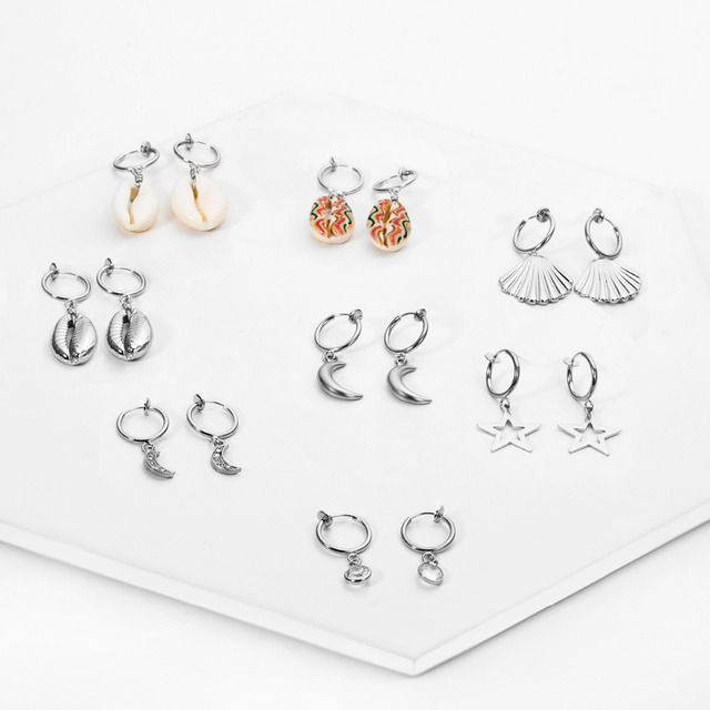 Ingemark Korean Natural Shell Drop Earrings Sweet Lvory Color Bohemian Stars Summer Conch Clip on Earring 4