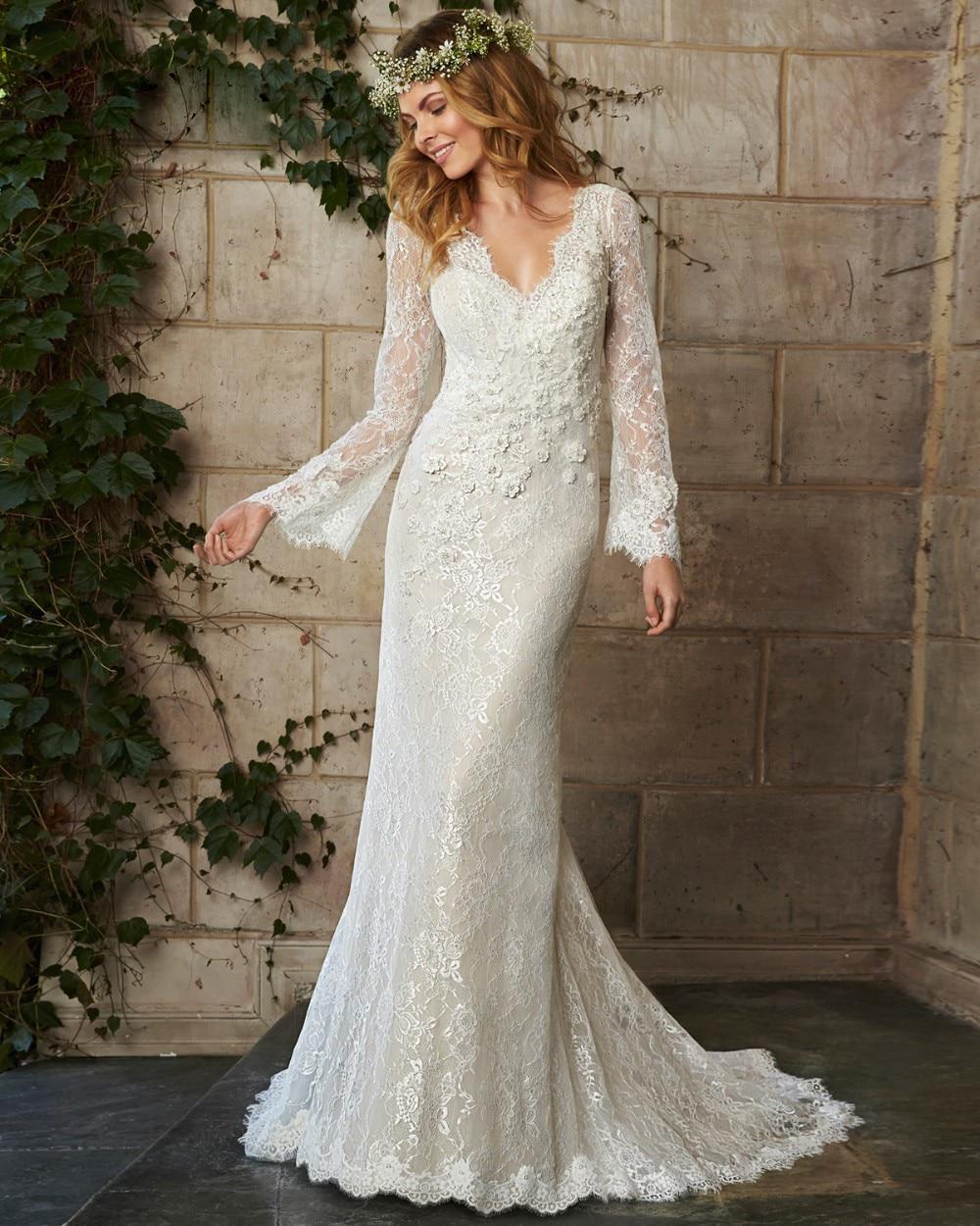 Romantic boho wedding dress 2016 v neck long sleeve for Romantic bohemian wedding dresses