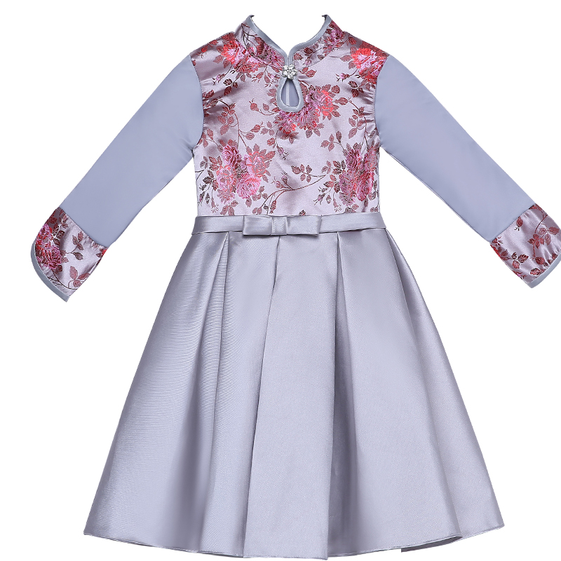 2017 autumn elegant silver girls dresses children kids formal dress chinese style party prom embroidered grown banquet outfits uoipae party dress girls 2018 autumn
