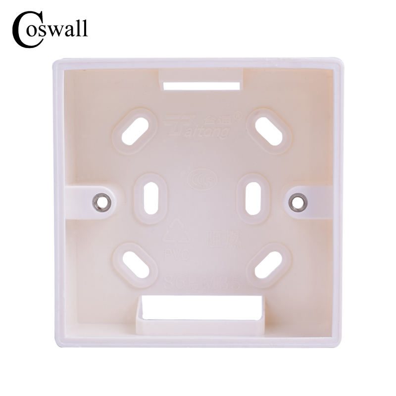 цена на Coswall External Mounting Box 86mm*86mm*34mm for 86mm*86mm Standard Switches and Sockets Apply For Any Position of Wall Surface