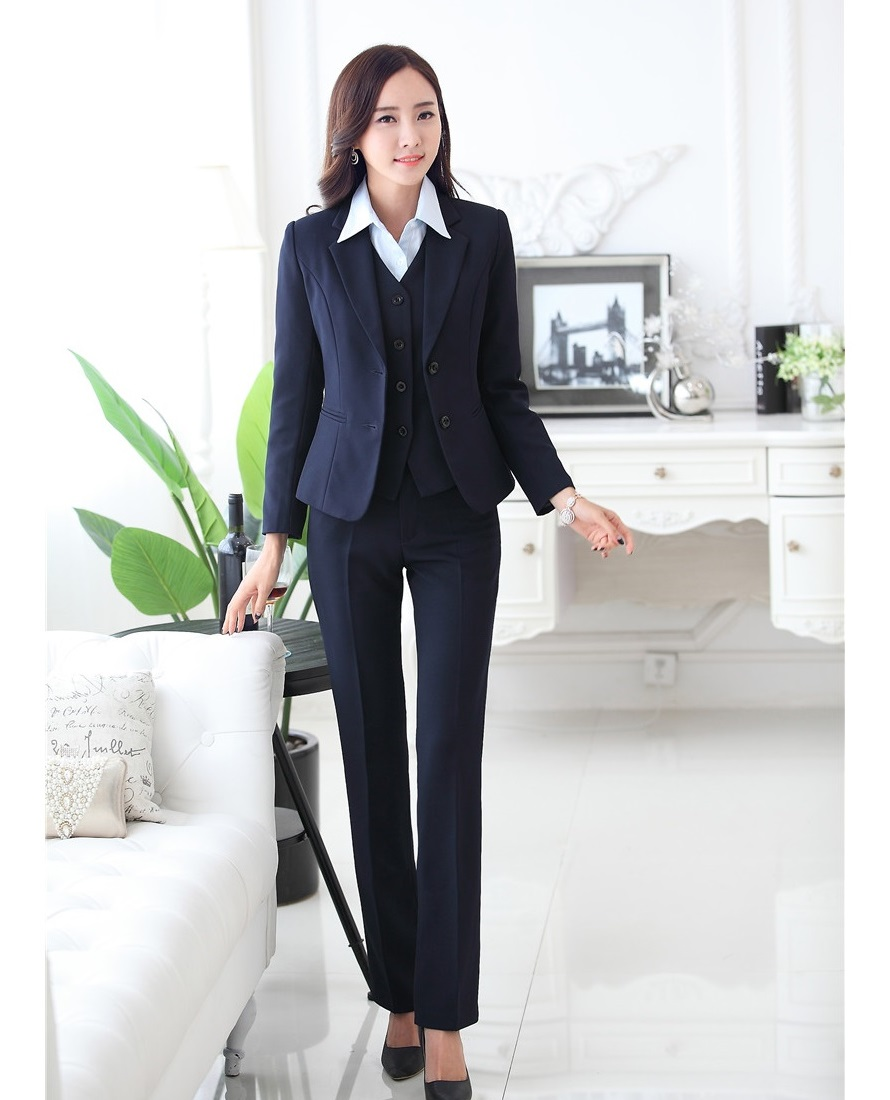 Formal Blazer Women Business Suits with Pant and Jacket Waistcoat 3 Piece Set Fashion Office Ladies Work Uniforms OL Style