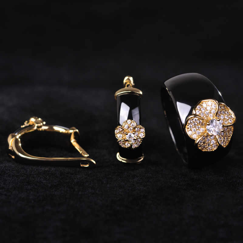 Hot Black Ceramic Earring&Ring Set Gold-color Copper CZ Zircon Flower Rings Brinco For Women Luxury Joya Ouro Jewelry Sets
