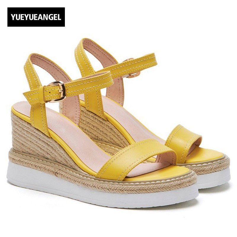New Arrival Summer Woman Sandals High Quality Leather Woman Sandals Fashion Buckle Strap Wedge Sandals Elegant Lady Heels Shoes free shipping 2015 summer new lady flat sandals t strap sandals rhinestone women diamond elegant shoes genuine leather sandals