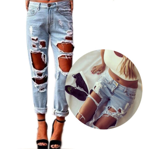Sexy Women Destroyed Ripped Distressed Slim Denim Pants Boyfriend Jeans Trousers Hole Female Girls