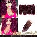 Бургундии Глубокая Волна Бразильский Девственные Волосы Глубокая Волна Глубоко Вьющиеся Дева волосы 99J Красный Темный Спираль Curl Weave 4 Связки С Закрытием