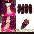 Burgundy Deep Wave Brazilian Virgin Hair Deep Wave Deep Curly Virgin Hair 99J Red Dark Spiral Curl Weave 4 Bundles With Closure