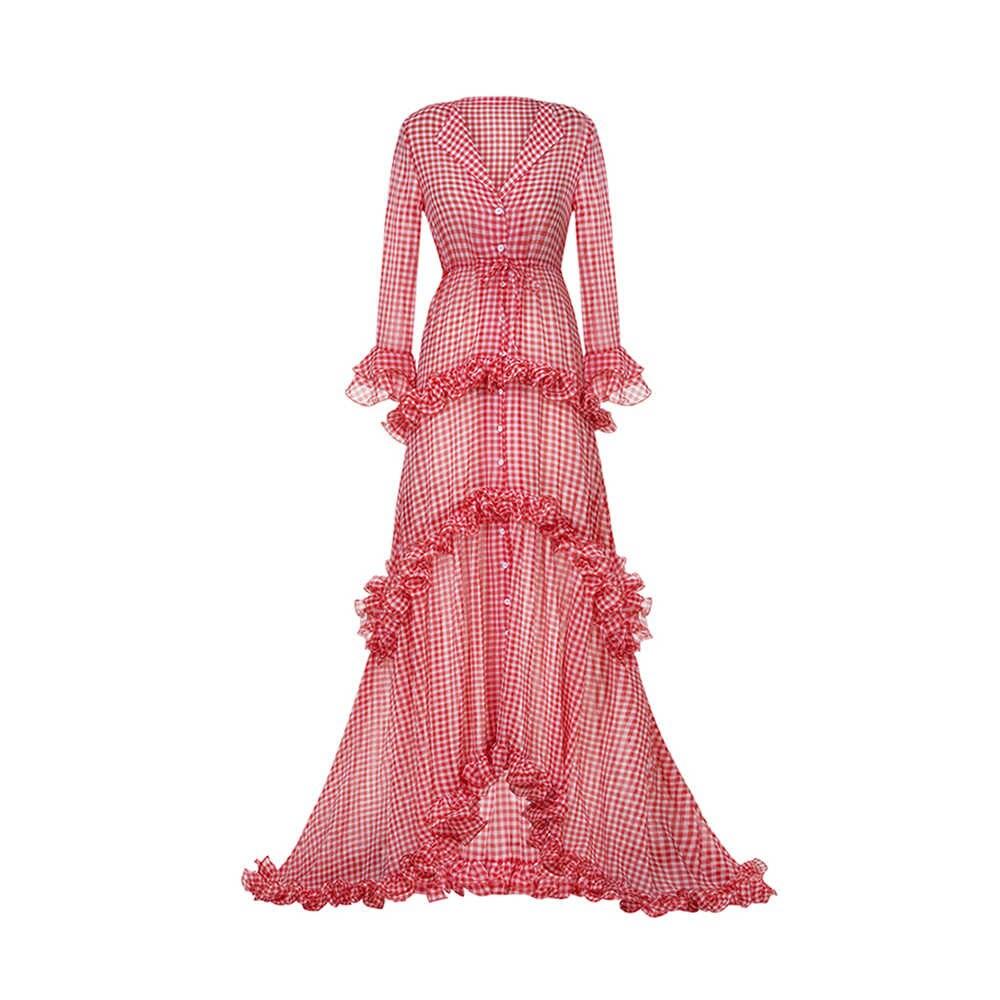 Для женщин Вечеринка сезон: весна–лето рюшами Многоуровневая удлиненные сладкий Розовое платье ремень с лацканами Глубокий V шеи Макси платье красное платье в клетку