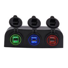 Universal Waterproof 5V 4.2A 6 USB Car Charger Hole Tent Type Panel Red Green Blue for Boat Marine ATV RV Car Motocycle