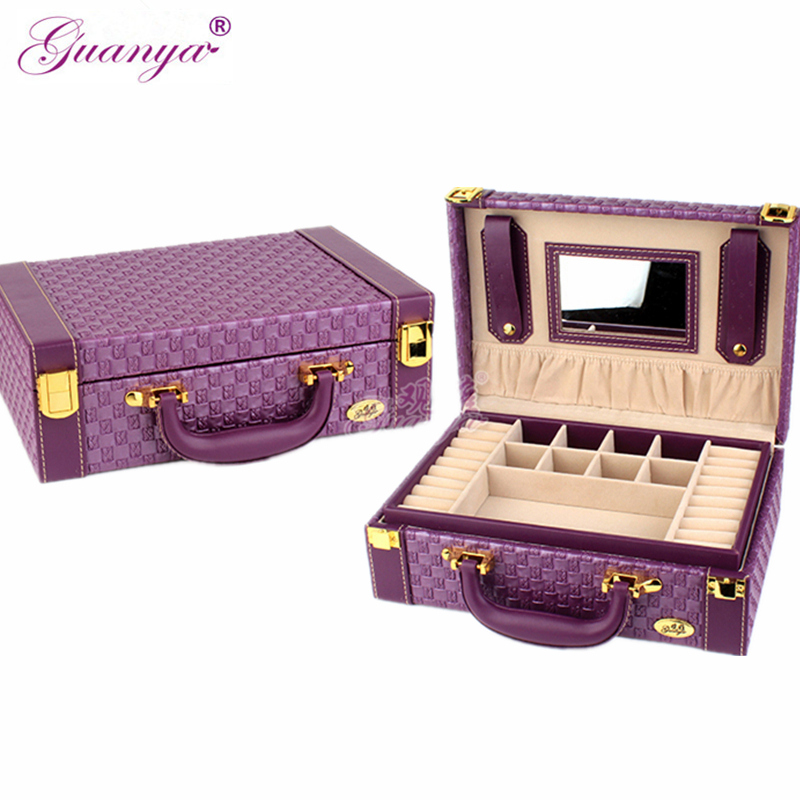 Guanya Brand Top Quality Makeup & Jewelry Organizer Case, Portable Cosmetic & Ring Earing Storage Box Lady Birthday Wedding Gift jewelry box european style makeup case cosmetics beauty organizer wedding birthday gift earrings necklace jewelry storage box