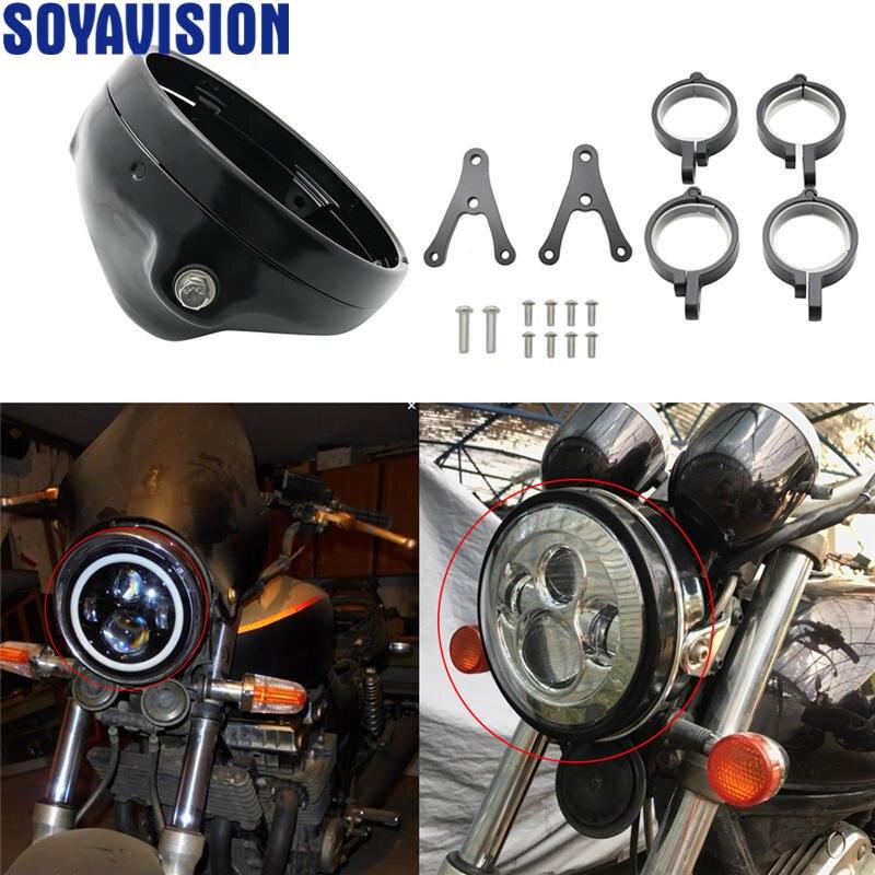 Universal Mount Motorcycle Headlight Bracket Tube Fork Spotlight Holder Clamp For 7 inch Led headlight Cafer