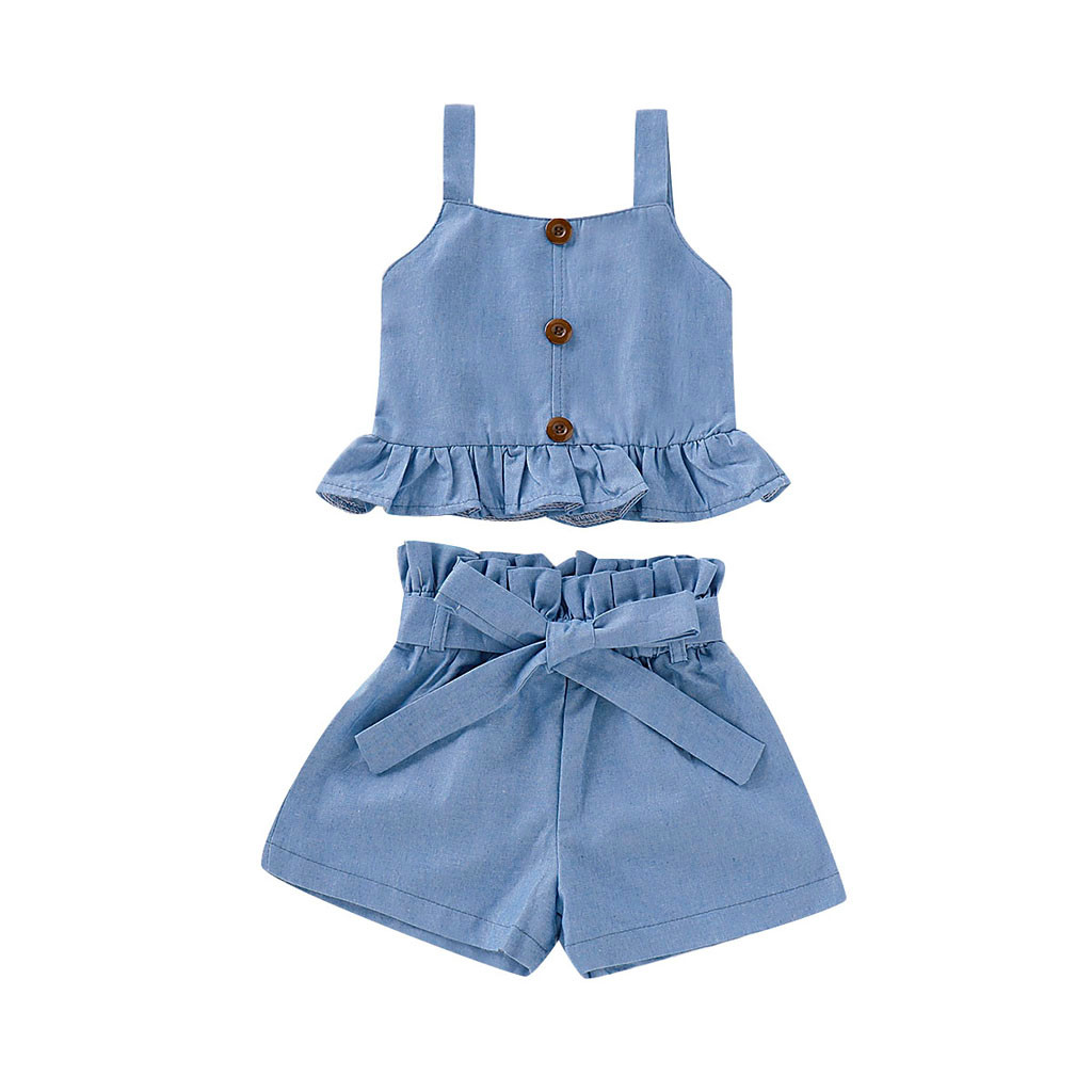 Summer New Fashion Toddler Baby Kid Girl  Ruffle Vest Tops Solid Bow Shorts Outfits Set Clothes Wholesale Free Ship Z4