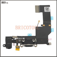 BRICOTOOL USB Charger Port Dock Connector With Mic Flex Cable For iPhone 5S Charging Headphone Audio Jack Flex(China)