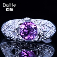 BAIHE Solid 14K White Gold(AU585)0.71CT Certified Purple CUT Flawless Genuine Amethyst Wedding Women Classic Fine Jewelry Ring