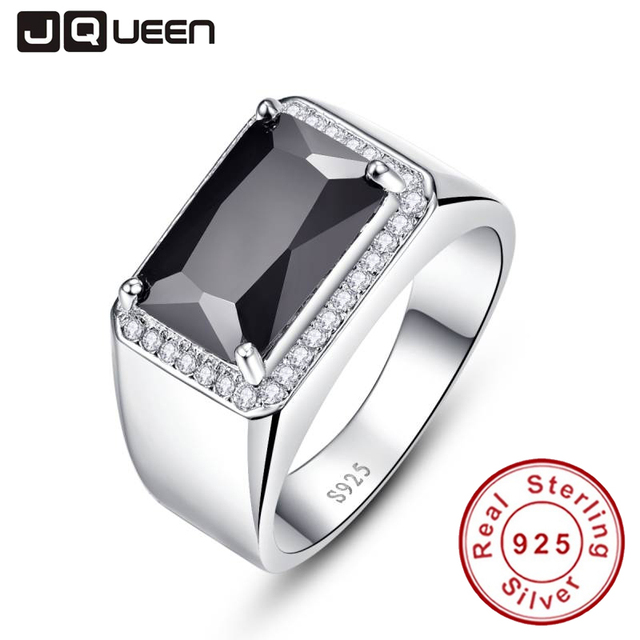 Luxury 6.8ct Black Spinel Male Ring Vintage Genuine 925 silver ring men Fine Jew