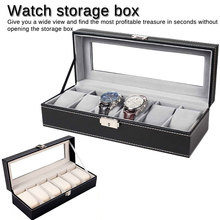 6 Grids Leather Watch Box Jewelry Holder Tray Watch Case Custom Organizer Storage Display Stand Rack Case Gift jewelry boxes