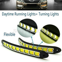 Newest Flexible Waterproof White And Yellow Car Head Light COB LED Daytime Running Lights DRL Fog