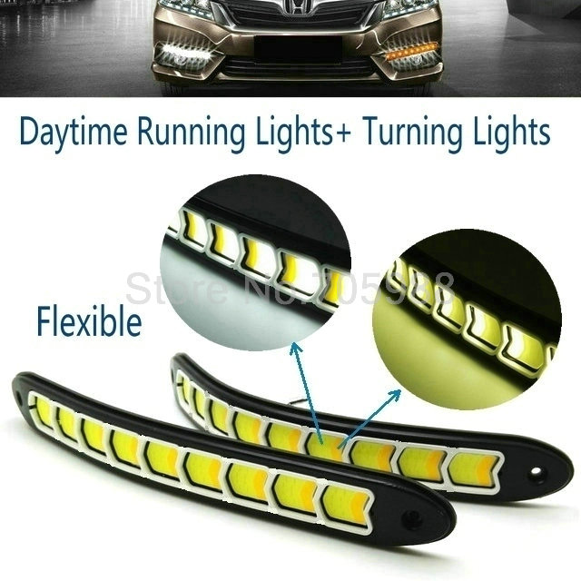 Newest flexible Waterproof White and Yellow Car Head Light COB LED Daytime Running Lights DRL Fog Lights with Turn Signal light flexible bandable straight line cob drl daytime running lights dc12v 16w high power white e4 waterproof car fog lights
