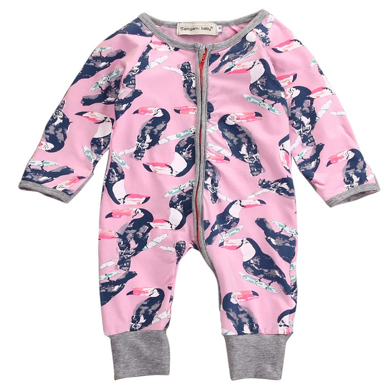 Newborn Baby boys girls Parrot Zipper Up Rompers  Infant Babies Boy Girl Cute Cotton Romper one-pieces Outfits Kids Clothing cute black jumpsuits outfits clothing baby kid boy girl wings newborn toddler child infant kids boys girls clothes romper 0 18m