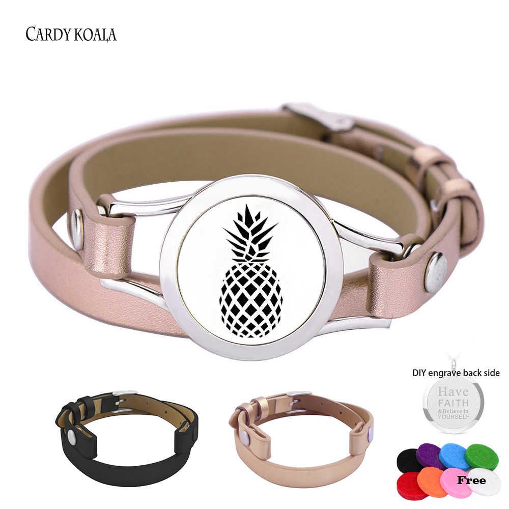 Nueva pulsera de aromaterapia de cuero rosa de acero inoxidable difusor de aceite esencial medallón pulsera pulseras difusor de Aroma joyería