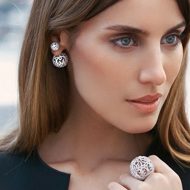 With Exquisite CZ Diamond Star Temperament Zircon Sterling-Silver-Jewelry Hollow Carved Large Double Stud Earrings For Women