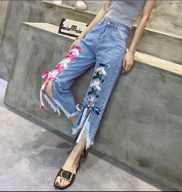 2017 Womens Fashion High Waist Loose Casual Lace up decorate Irregular Split Calf length pants loose lace up casual mens pencil pants