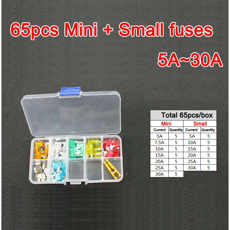65pc Assorted Micro Mini&Small Blade Fuse 5A 7.5A 10A 15A 20A 25A 30A Auto Car Truck Motorcycle FUSE Box Kit mini blade fuse assortment auto car motorcycle suv fuses kit apm atm 5a 10a 15a 20a 25a 30a 35a regular size blade