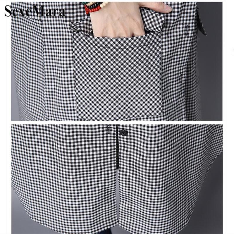 SexeMara Korean Version Of Large Size Lapel Cotton And Black And White Plaid Long Loose Shirt Female Blusas Mujer De Moda 2019 (6)